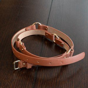 Genuine Leather Belt with Gold Hoop & Studs Detail